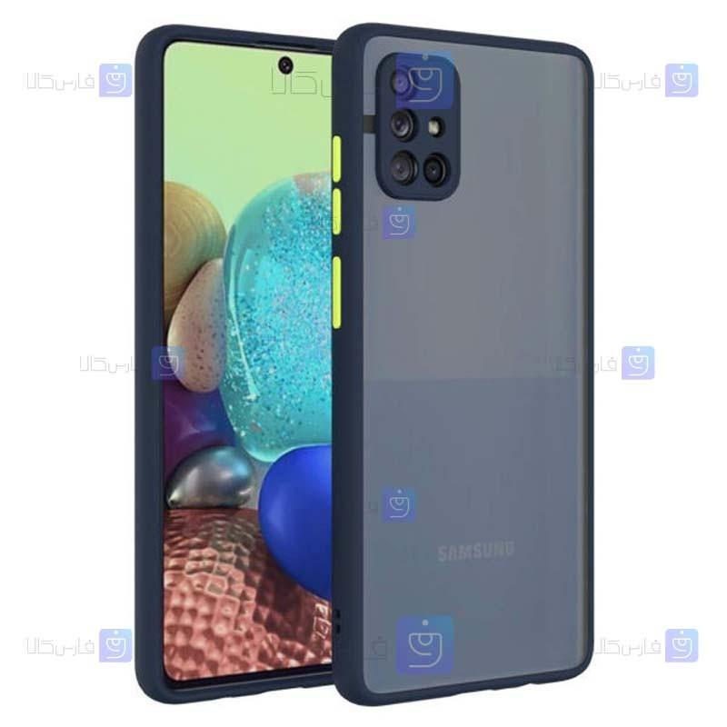 قاب محافظ مات با محافظ لنز سامسونگ Transparent Hybrid Case Samsung Galaxy M51