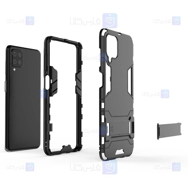 قاب محافظ استند دار سامسونگ Kick Stand Iron Man Armor Case Samsung Galaxy A12