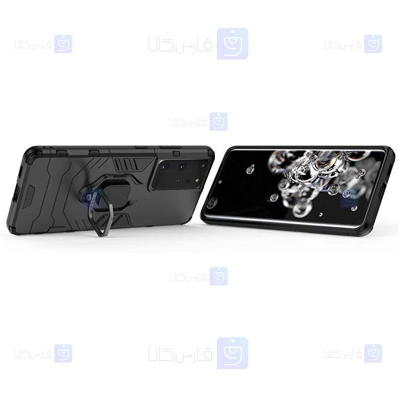 قاب محافظ ضد ضربه انگشتی سامسونگ Ring Holder Iron Man Armor Case Samsung Galaxy S21 Ultra