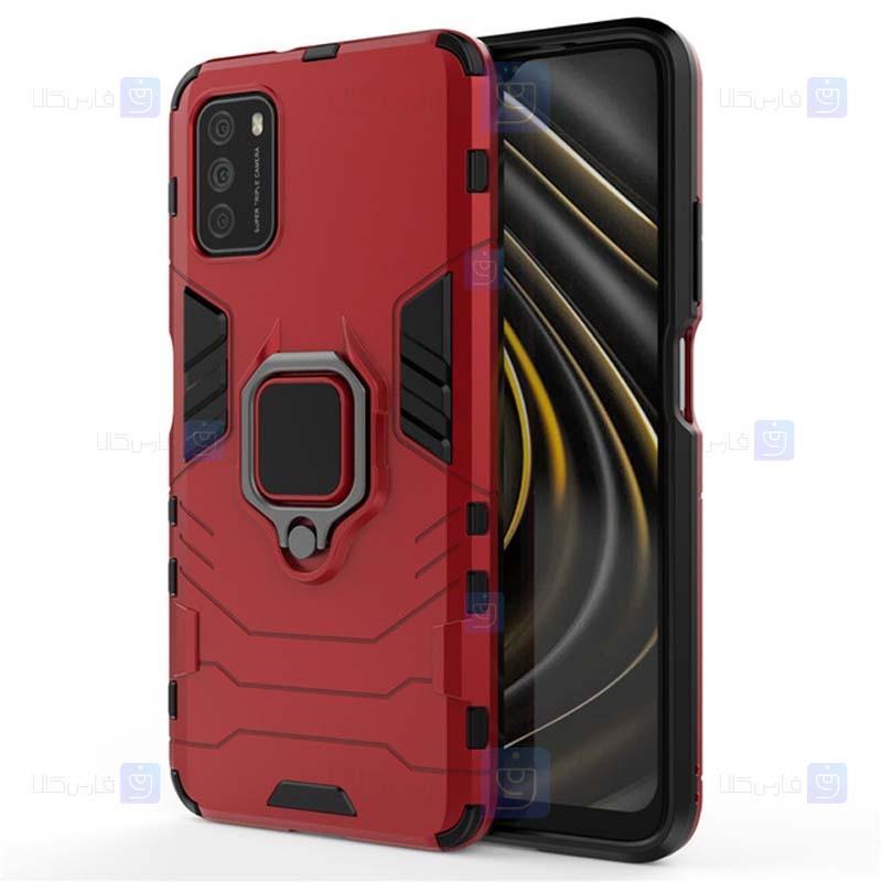 قاب محافظ انگشتی شیائومی Ring Holder Iron Man Armor Case Xiaomi Poco M3