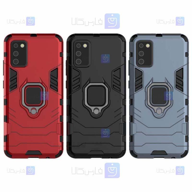 قاب محافظ ضد ضربه انگشتی سامسونگ Ring Holder Iron Man Armor Case Samsung Galaxy M02s