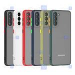 قاب محافظ پشت مات با محافظ لنز سامسونگ Transparent Hybrid Case With Lens Protector Samsung Galaxy S21
