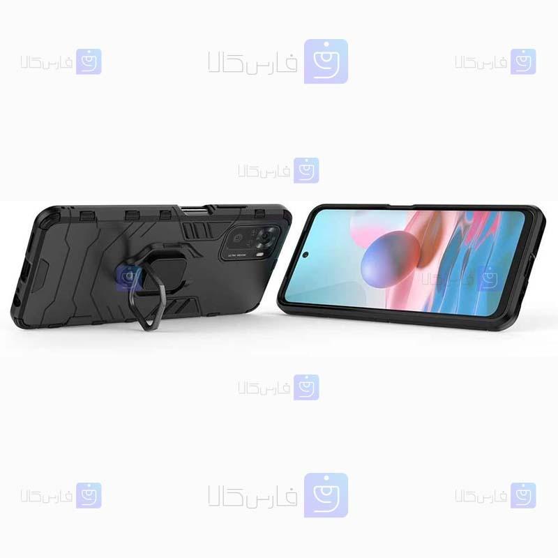 قاب محافظ ضد ضربه انگشتی شیائومی Ring Holder Iron Man Armor Case Xiaomi Redmi Note 10 4G